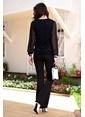 İroni Lycralı İspanyol Paça Pantolon Siyah